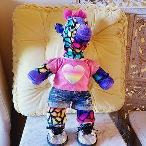 Build-A-Bear Hip Neon Giraffe Plush w Outfit